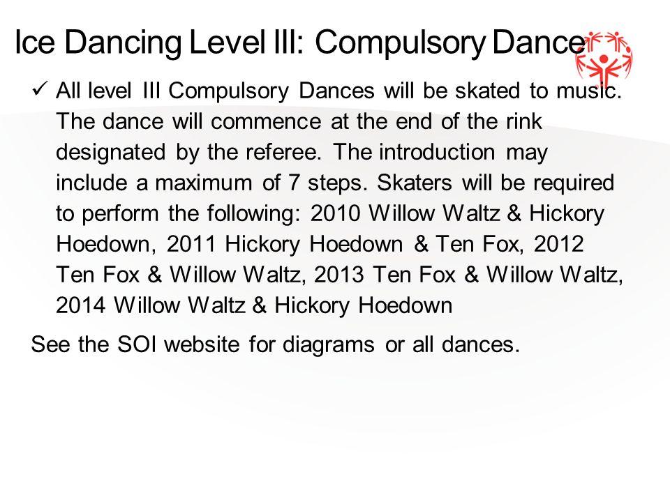 Ice Dancing Level III: Compulsory Dance All level III Compulsory Dances will be skated to music.