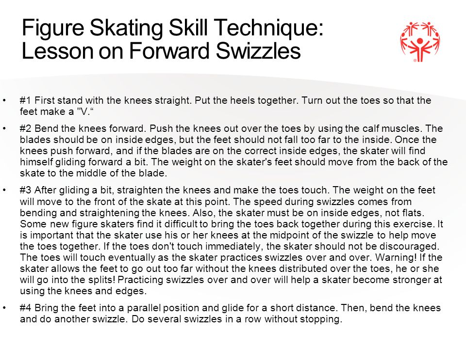 Figure Skating Skill Technique: Lesson on Forward Swizzles #1 First stand with the knees straight.