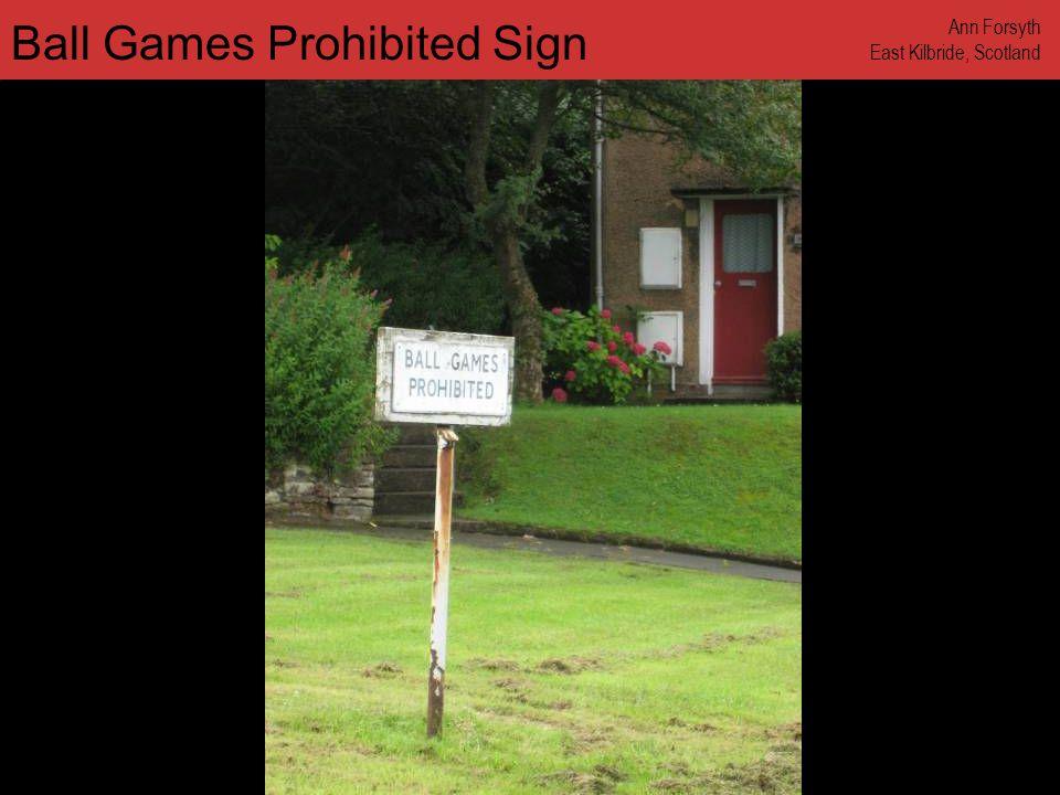 www.annforsyth.net Ball Games Prohibited Sign Ann Forsyth East Kilbride, Scotland