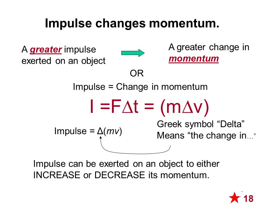 Impulse Changes Momentum 1) Apply 10 N for 10 minutes 2) Apply 10 N for 5 minutes Which scenario produces more momentum change.