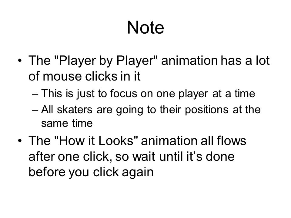 Note The Player by Player animation has a lot of mouse clicks in it –This is just to focus on one player at a time –All skaters are going to their positions at the same time The How it Looks animation all flows after one click, so wait until it's done before you click again