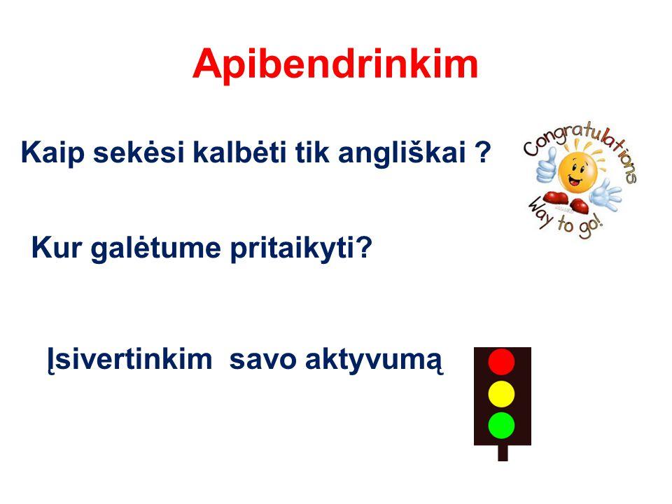 Apibendrinkim Kaip sekėsi kalbėti tik angliškai . Kur galėtume pritaikyti.