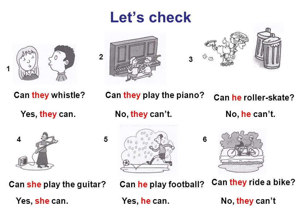 Can they whistle? Yes, they can. Let's check Can they play the piano? No, they can't. Can he roller-skate? No, he can't. Can she play the guitar?Can h