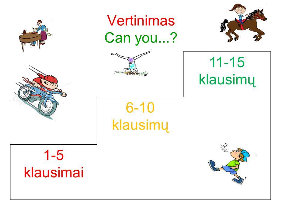 Vertinimas Can you... 11-15 klausimų 6-10 klausimų 1-5 klausimai