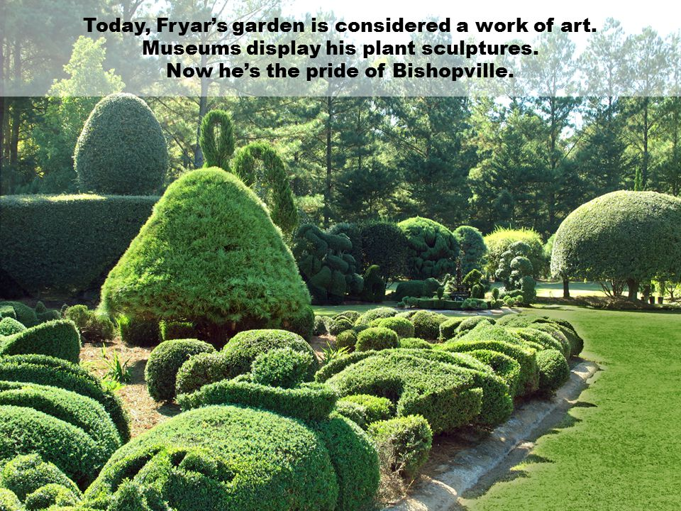Today, Fryar's garden is considered a work of art.