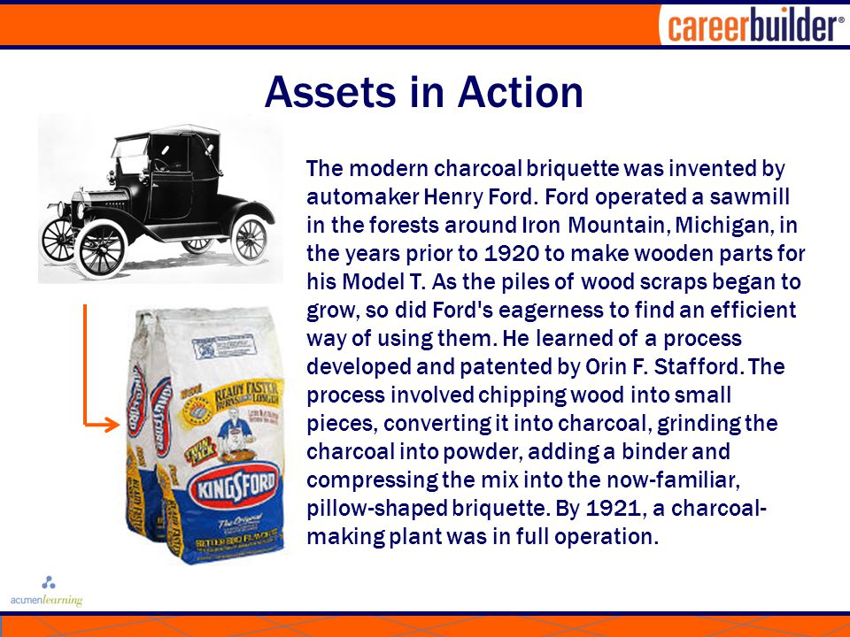 Assets in Action The modern charcoal briquette was invented by automaker Henry Ford.