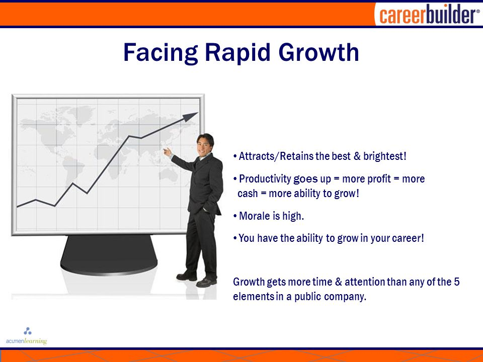 Facing Rapid Growth Attracts/Retains the best & brightest.