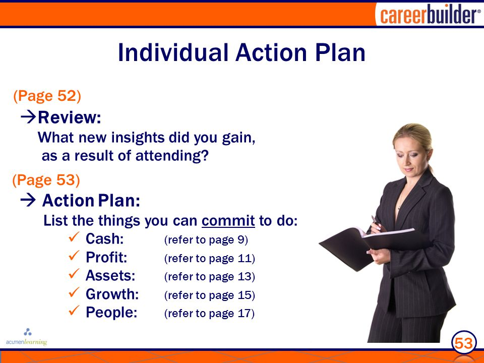 Individual Action Plan  Review: What new insights did you gain, as a result of attending.