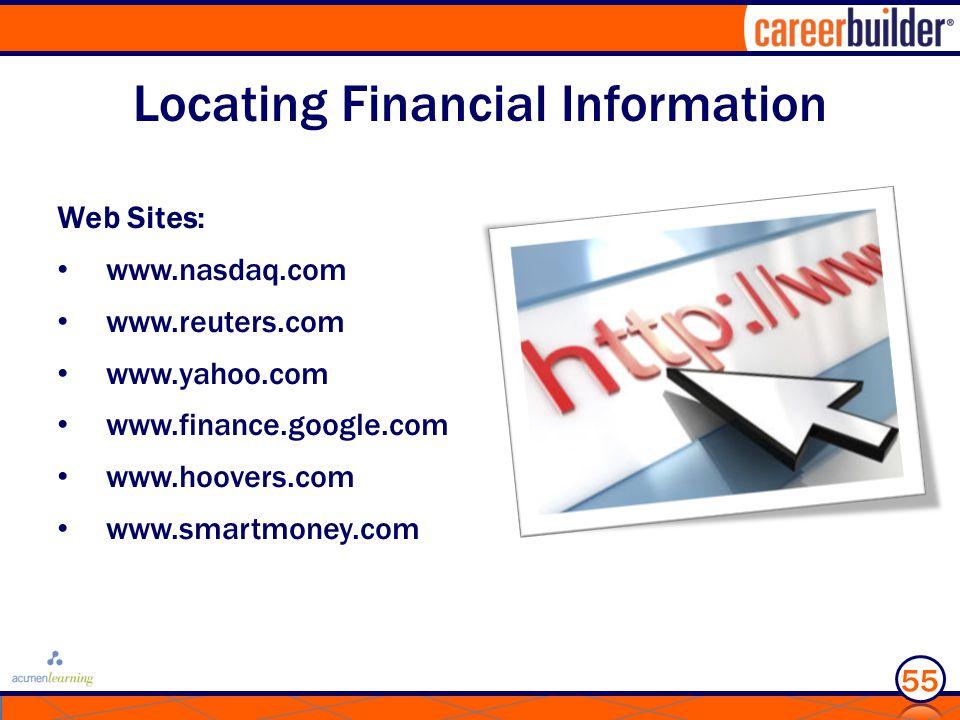 Locating Financial Information Web Sites: www.nasdaq.com www.reuters.com www.yahoo.com www.finance.google.com www.hoovers.com www.smartmoney.com 55