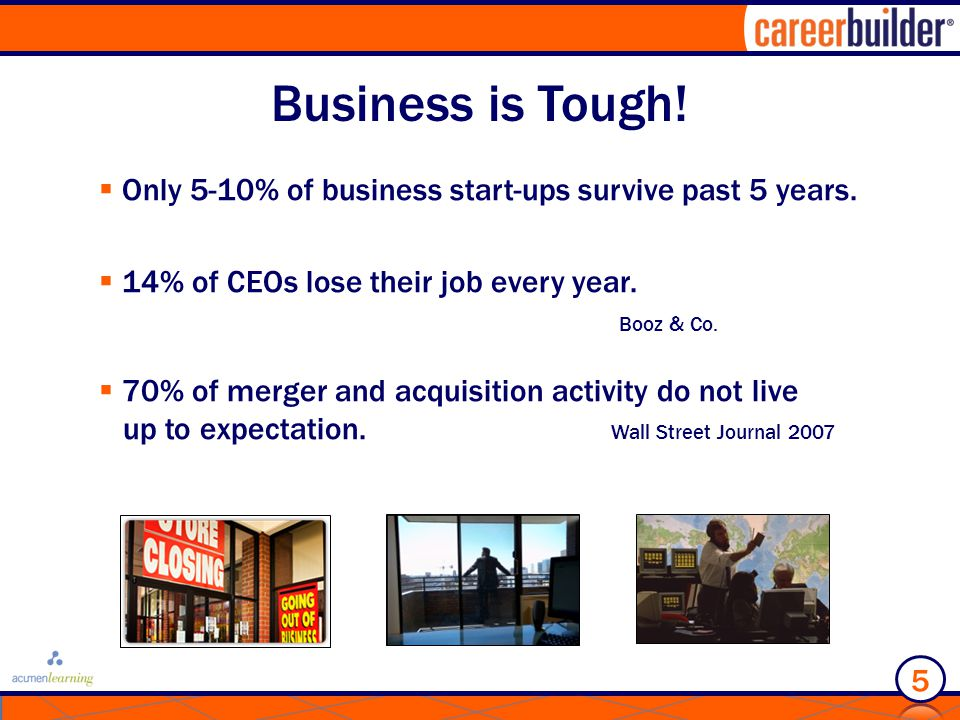 Business is Tough.  Only 5-10% of business start-ups survive past 5 years.
