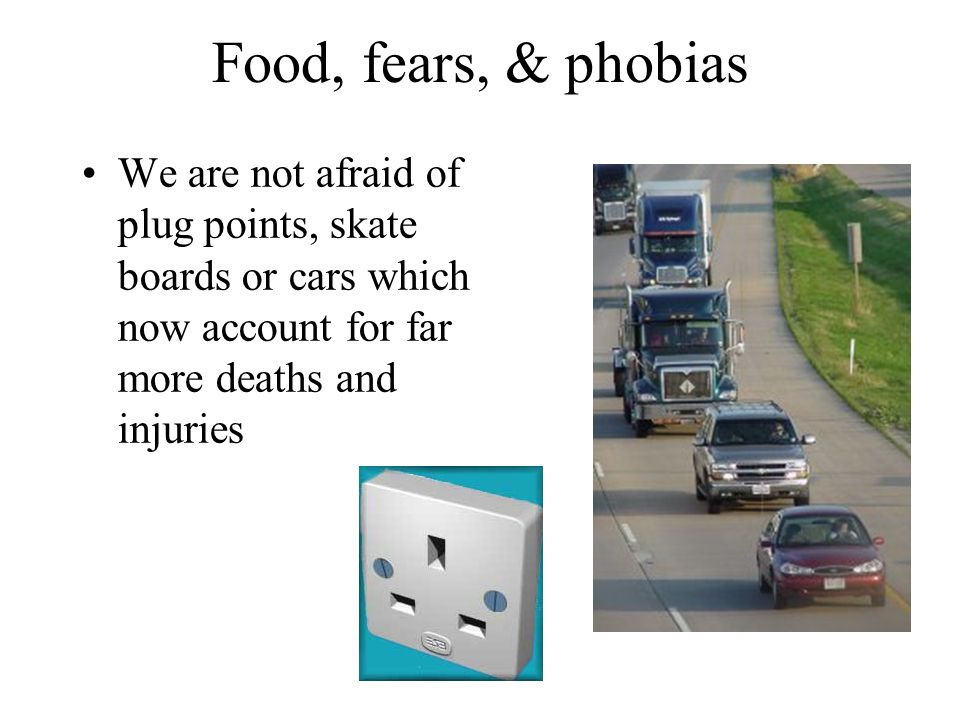 Food, fears, & phobias We are not afraid of plug points, skate boards or cars which now account for far more deaths and injuries
