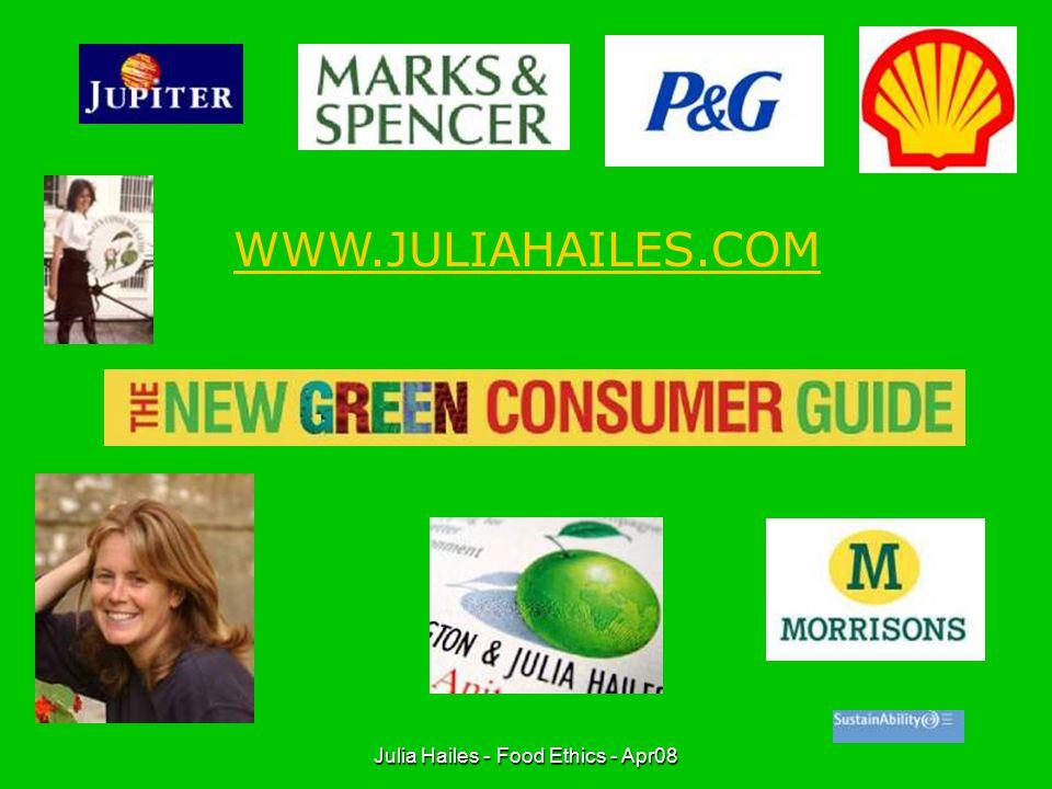 Julia Hailes - Food Ethics - Apr08 WHAT'S ON THE MENU?