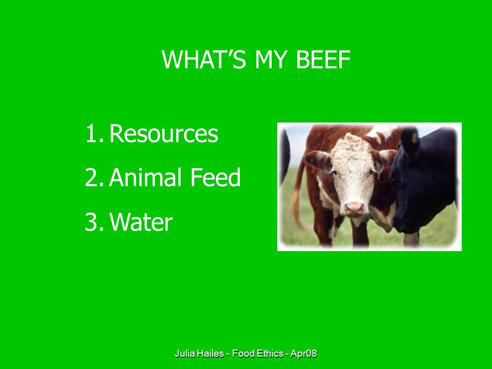 Julia Hailes - Food Ethics - Apr08 WHAT'S MY BEEF 1.Resources 2.Animal Feed 3.Water