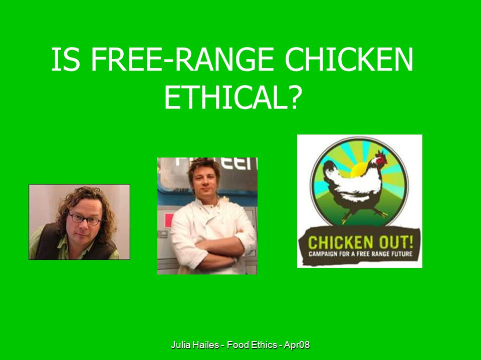 Julia Hailes - Food Ethics - Apr08 IS FREE-RANGE CHICKEN ETHICAL