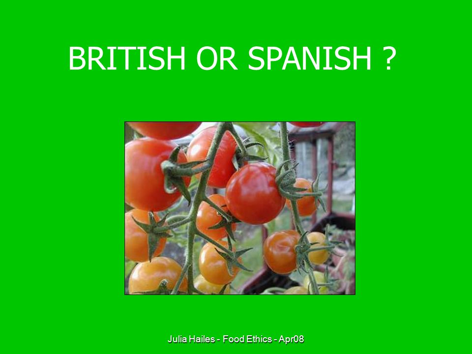 Julia Hailes - Food Ethics - Apr08 BRITISH OR SPANISH