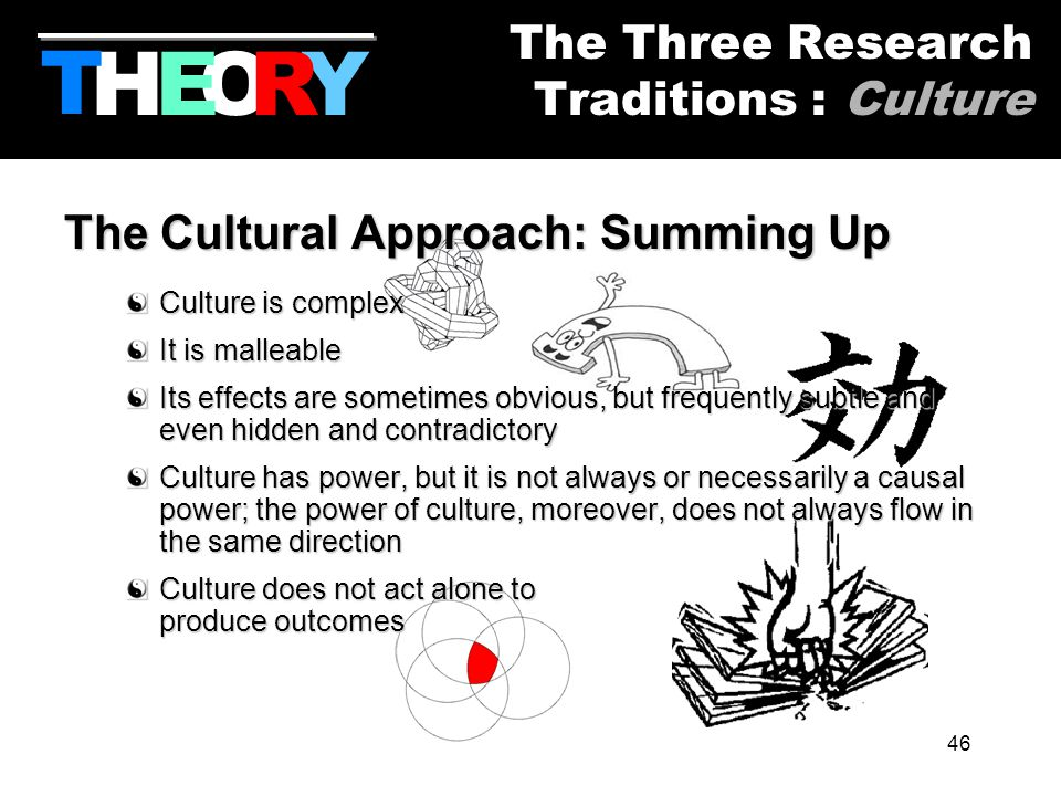 46 The Cultural Approach: Summing Up Culture is complex It is malleable Its effects are sometimes obvious, but frequently subtle and even hidden and contradictory Culture has power, but it is not always or necessarily a causal power; the power of culture, moreover, does not always flow in the same direction Culture does not act alone to produce outcomes HYOR T The Three Research Traditions : Culture E