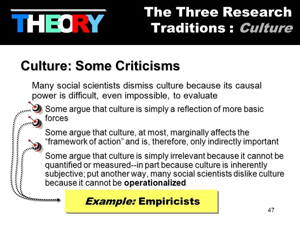 47 Culture: Some Criticisms Many social scientists dismiss culture because its causal power is difficult, even impossible, to evaluate Some argue that culture is simply a reflection of more basic forces Some argue that culture, at most, marginally affects the framework of action and is, therefore, only indirectly important Some argue that culture is simply irrelevant because it cannot be quantified or measured--in part because culture is inherently subjective; put another way, many social scientists dislike culture because it cannot be operationalized HYOR T The Three Research Traditions : Culture E Example: Structuralists Example: Rationalists Example: Empiricists