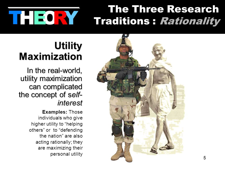 5 Utility Maximization In the real-world, utility maximization can complicated the concept of self- interest Examples: Those individuals who give higher utility to helping others or to defending the nation are also acting rationally; they are maximizing their personal utility HYOR T The Three Research Traditions : Rationality E