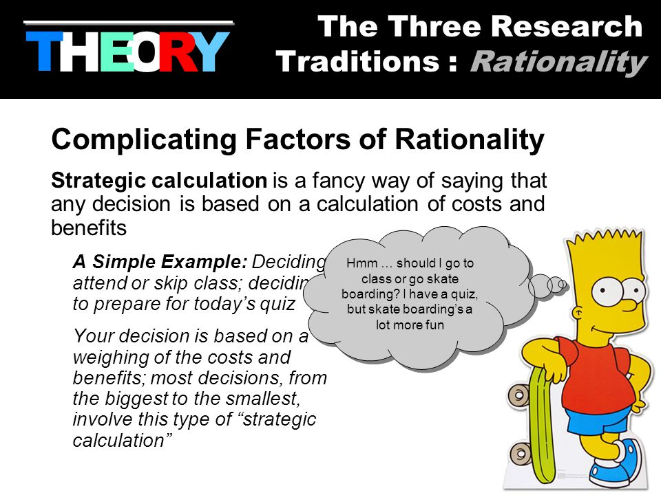 7 Complicating Factors of Rationality Strategic calculation is a fancy way of saying that any decision is based on a calculation of costs and benefits A Simple Example: Deciding to attend or skip class; deciding to prepare for today's quiz Your decision is based on a weighing of the costs and benefits; most decisions, from the biggest to the smallest, involve this type of strategic calculation HYOR T The Three Research Traditions : Rationality E Hmm … should I go to class or go skate boarding.