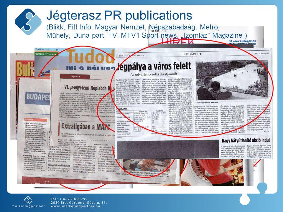 """Jégterasz PR publications (Blikk, Fitt Info, Magyar Nemzet, Népszabadság, Metro, Műhely, Duna part, TV: MTV1 Sport news, """"Izomláz Magazine )"""