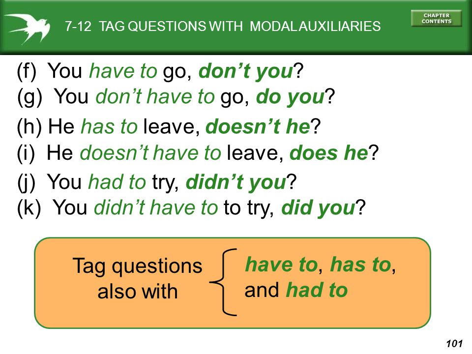 101 7-12 TAG QUESTIONS WITH MODAL AUXILIARIES (f) You have to go, don't you? (g) You don't have to go, do you? (i) He doesn't have to leave, does he?