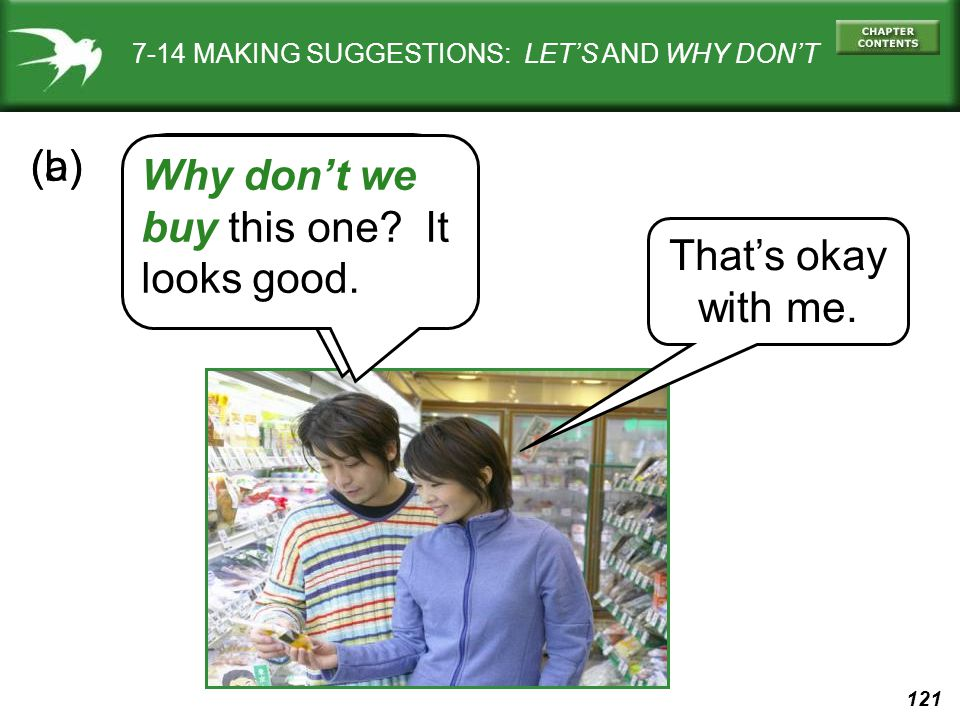121 7-14 MAKING SUGGESTIONS: LET'S AND WHY DON'T Let's buy this one.