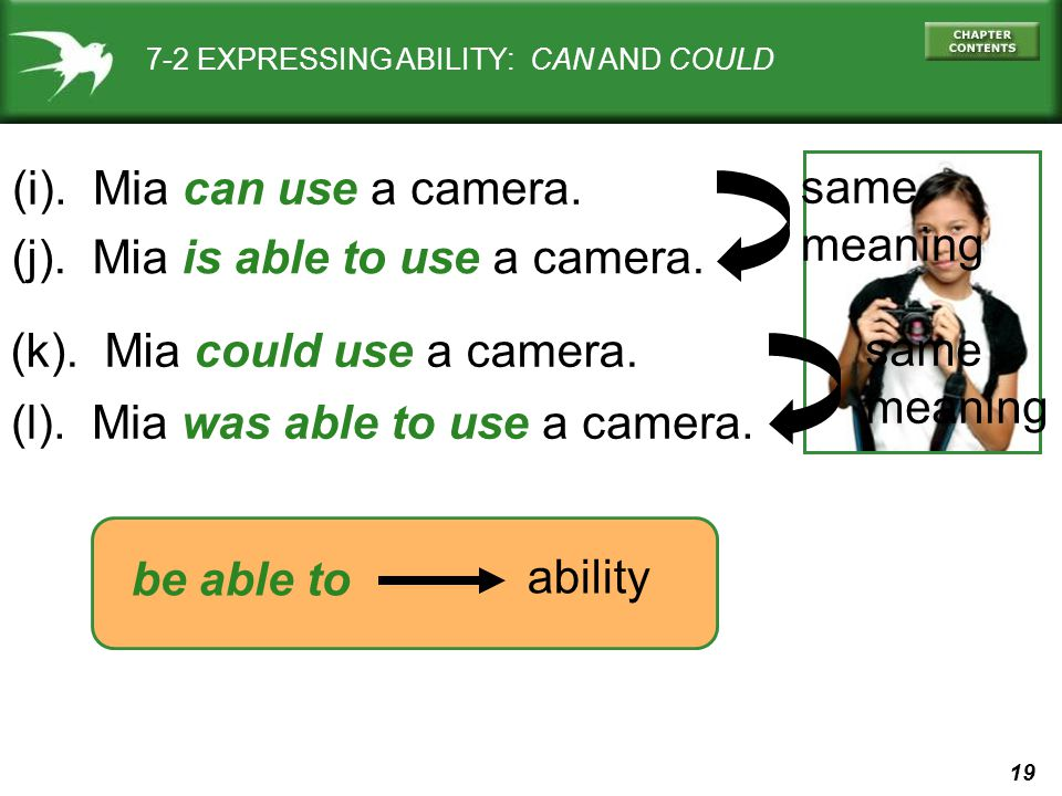 19 7-2 EXPRESSING ABILITY: CAN AND COULD (i). Mia can use a camera. (j). Mia is able to use a camera. (l). Mia was able to use a camera. (k). Mia coul