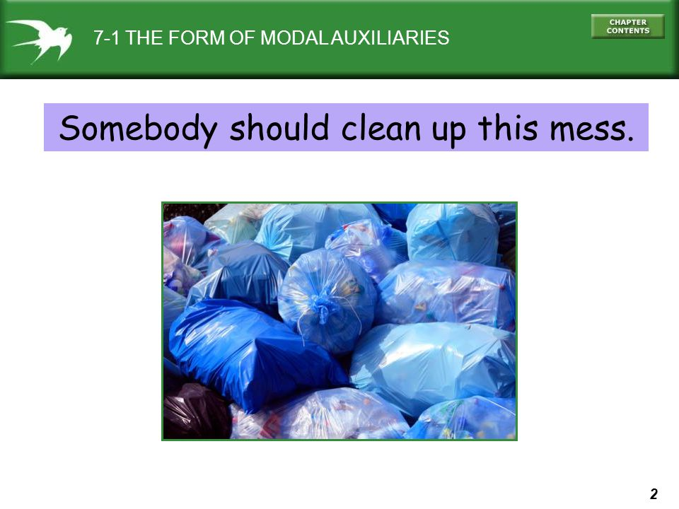 2 7-1 THE FORM OF MODAL AUXILIARIES Somebody should clean up this mess.