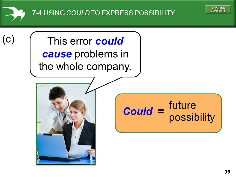 36 7-4 USING COULD TO EXPRESS POSSIBILITY This error could cause problems in the whole company.
