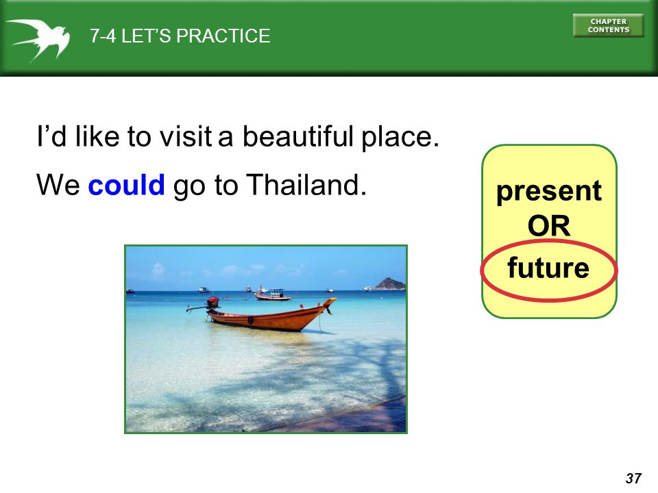 37 7-4 LET'S PRACTICE present OR future I'd like to visit a beautiful place.