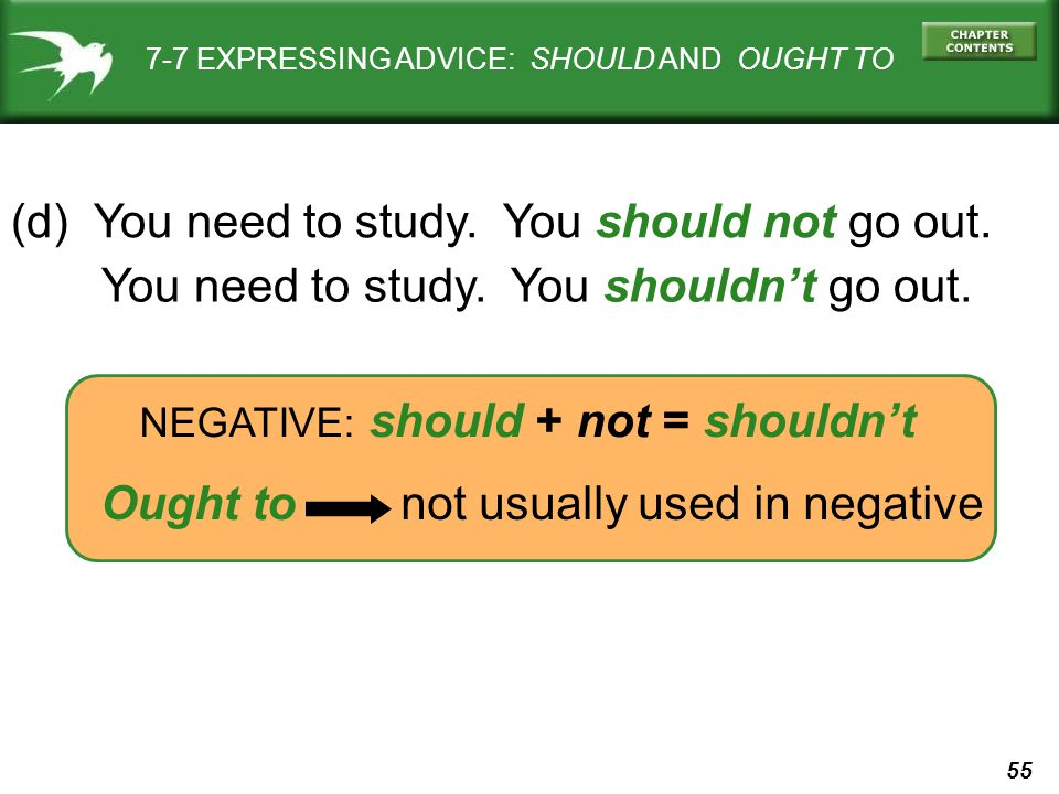 55 7-7 EXPRESSING ADVICE: SHOULD AND OUGHT TO (d) You need to study. You should not go out. NEGATIVE: should + not = shouldn't You need to study. You