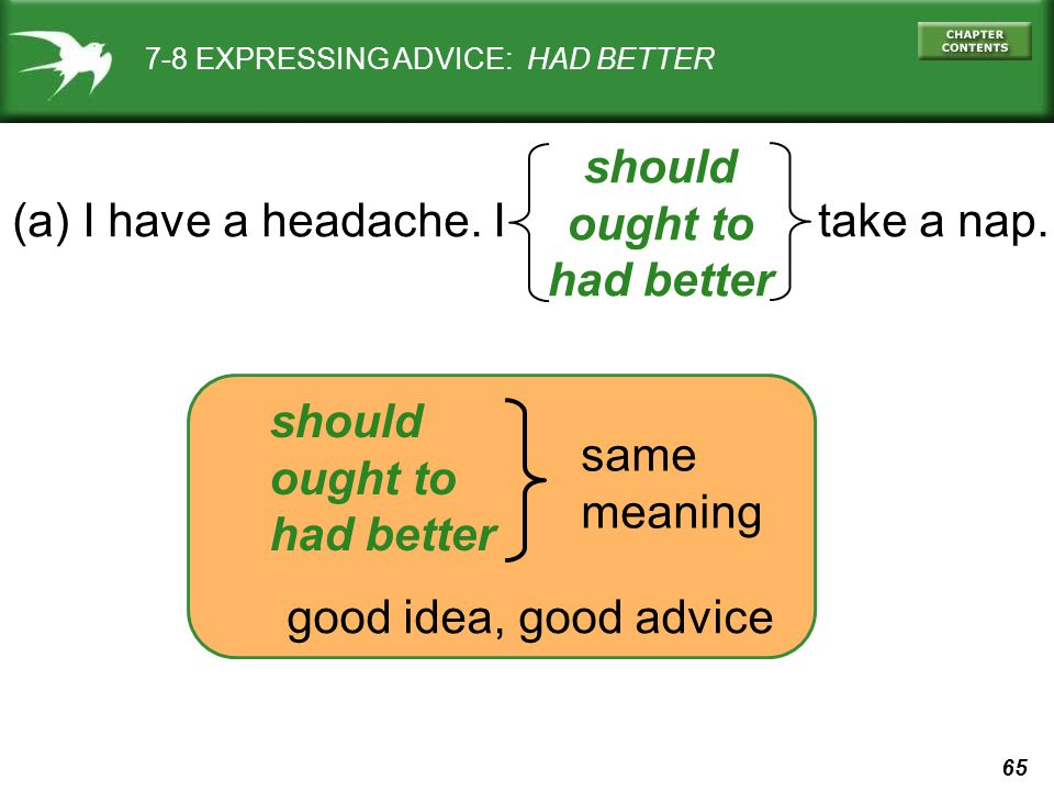 65 7-8 EXPRESSING ADVICE: HAD BETTER (a) I have a headache.