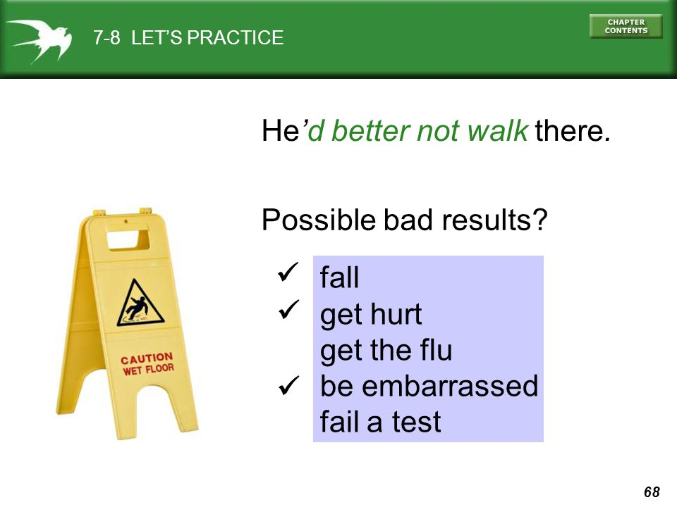 68 7-8 LET'S PRACTICE He'd better not walk there. Possible bad results.