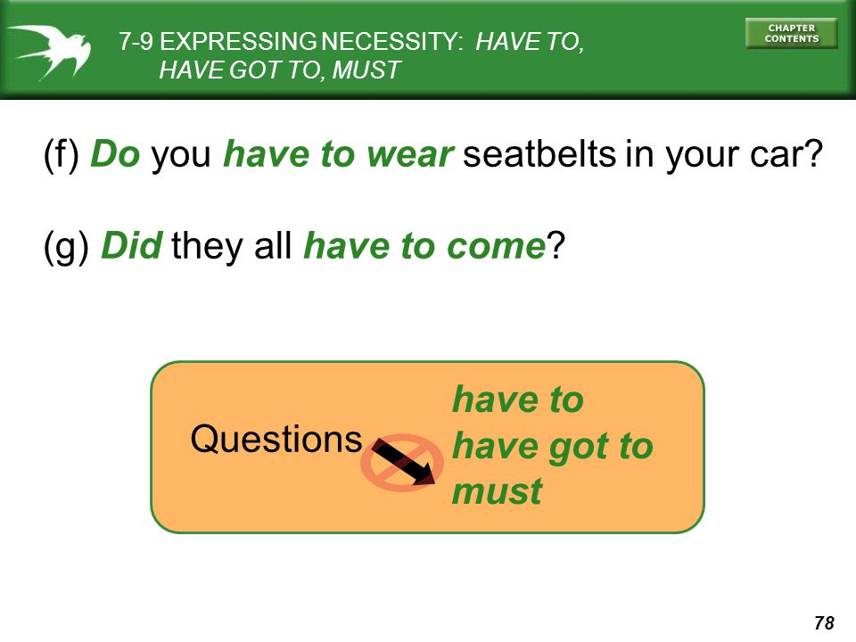78 (f) Do you have to wear seatbelts in your car. (g) Did they all have to come.