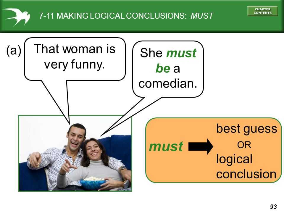 93 best guess OR logical conclusion 7-11 MAKING LOGICAL CONCLUSIONS: MUST That woman is very funny.
