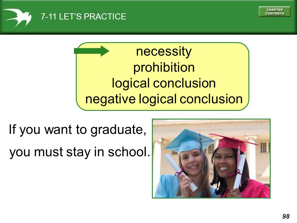 98 7-11 LET'S PRACTICE necessity prohibition logical conclusion negative logical conclusion If you want to graduate, you must stay in school.