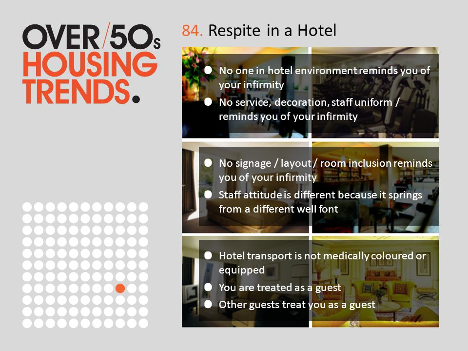 84. Respite in a Hotel No one in hotel environment reminds you of your infirmity No service, decoration, staff uniform / reminds you of your infirmity