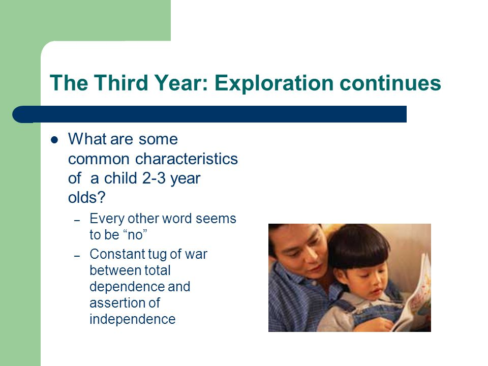 The Third Year: Exploration continues What are some common characteristics of a child 2-3 year olds.