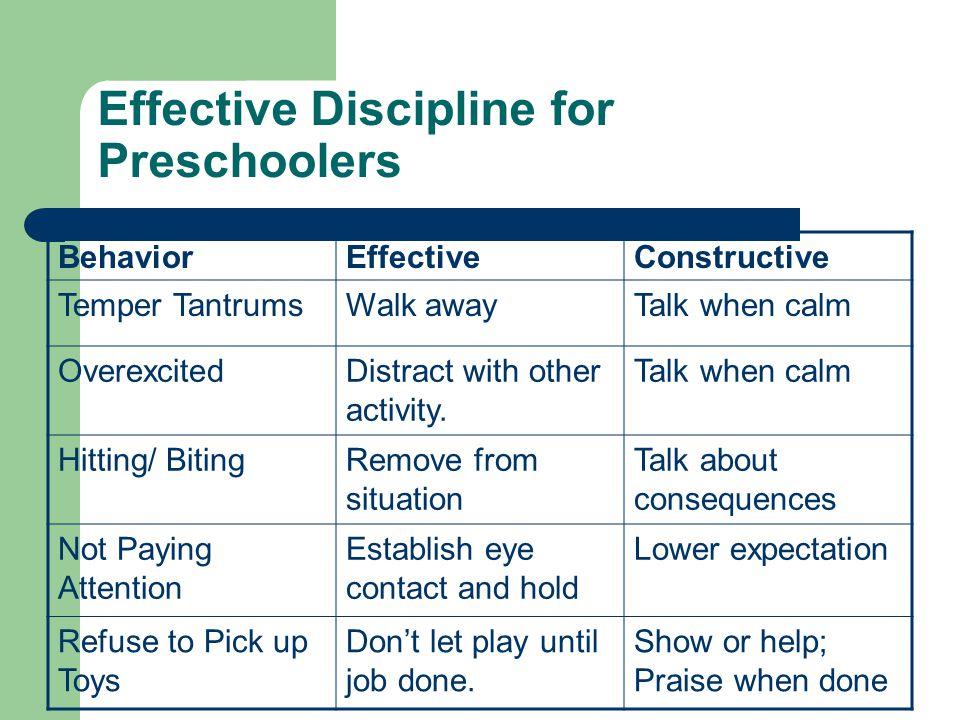 Effective Discipline for Preschoolers BehaviorEffectiveConstructive Temper TantrumsWalk awayTalk when calm OverexcitedDistract with other activity.