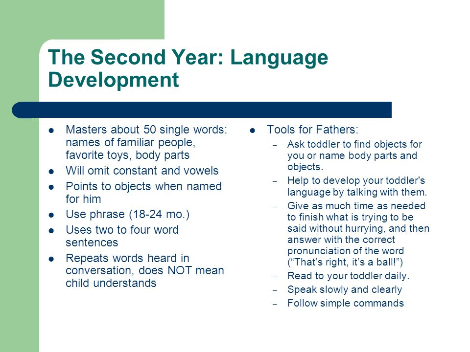 The Second Year: Language Development Masters about 50 single words: names of familiar people, favorite toys, body parts Will omit constant and vowels Points to objects when named for him Use phrase (18-24 mo.) Uses two to four word sentences Repeats words heard in conversation, does NOT mean child understands Tools for Fathers: – Ask toddler to find objects for you or name body parts and objects.