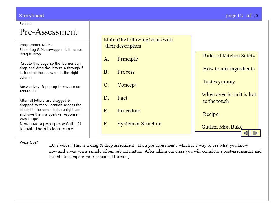 Storyboard page 12 of 70 Scene: Pre-Assessment Programmer Notes Place Log & Menu—upper left corner Drag & Drop Create this page so the learner can drop and drag the letters A through f in front of the answers in the right column.