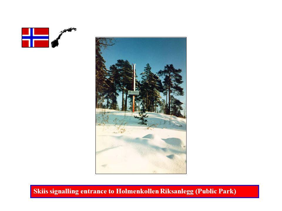 Skiis signalling entrance to Holmenkollen Riksanlegg (Public Park)