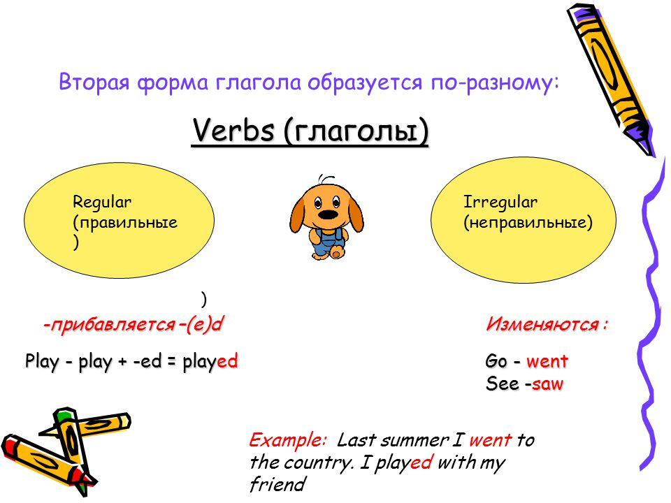 Вторая форма глагола образуется по-разному: Verbs (глаголы) ) Regular (правильные ) Irregular (неправильные) -прибавляется –(е)d Play - play + -ed = played Изменяются : Go - went See -saw Example: Last summer I went to the country.