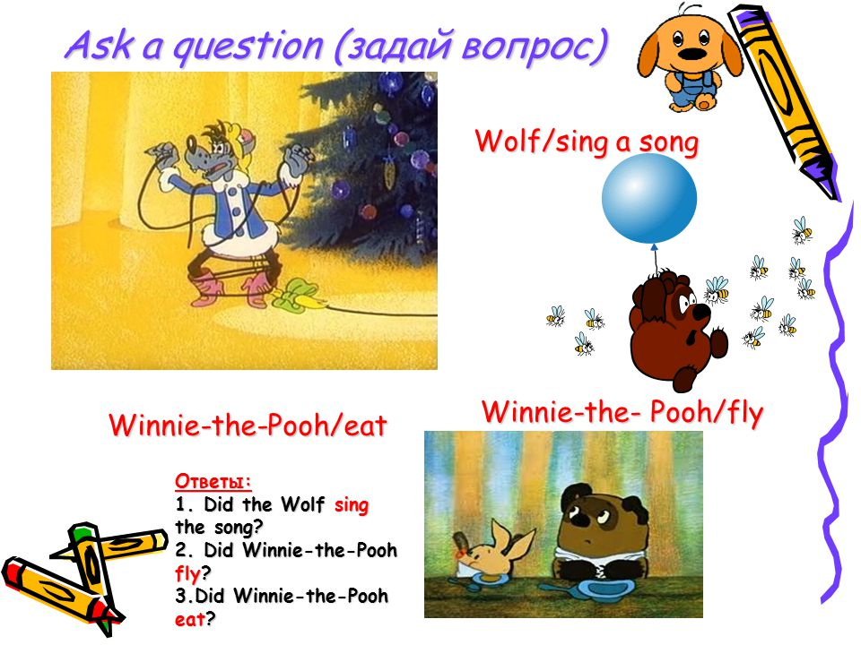 Ask a question (задай вопрос) Wolf/sing a song Winnie-the- Pooh/fly Winnie-the-Pooh/eat Ответы: 1.