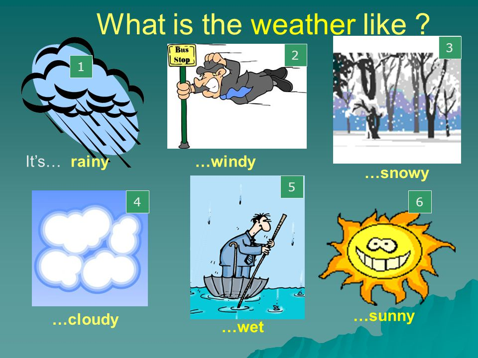 What is the weather like ? rainy … …cloudy …windy …snowy …sunny 1 2 3 4 5 6 5 …wet It's…