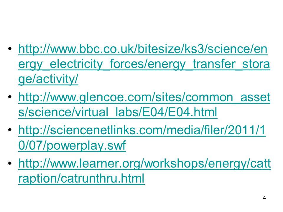 http://www.bbc.co.uk/bitesize/ks3/science/en ergy_electricity_forces/energy_transfer_stora ge/activity/http://www.bbc.co.uk/bitesize/ks3/science/en ergy_electricity_forces/energy_transfer_stora ge/activity/ http://www.glencoe.com/sites/common_asset s/science/virtual_labs/E04/E04.htmlhttp://www.glencoe.com/sites/common_asset s/science/virtual_labs/E04/E04.html http://sciencenetlinks.com/media/filer/2011/1 0/07/powerplay.swfhttp://sciencenetlinks.com/media/filer/2011/1 0/07/powerplay.swf http://www.learner.org/workshops/energy/catt raption/catrunthru.htmlhttp://www.learner.org/workshops/energy/catt raption/catrunthru.html 4