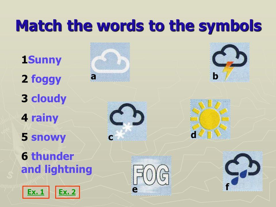 Match the words to the symbols 1Sunny 2 foggy 3 cloudy 4 rainy 5 snowy 6 thunder and lightning ab c d e f Ex.