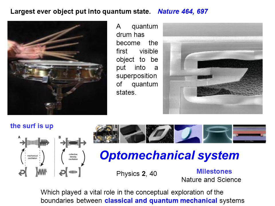 A quantum drum has become the first visible object to be put into a superposition of quantum states.