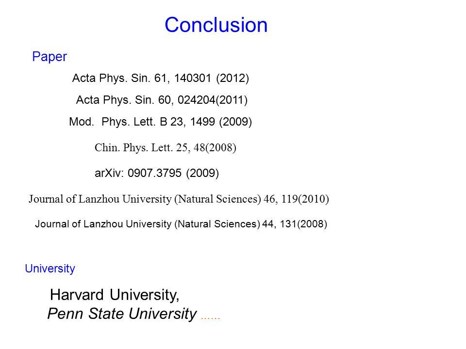 Conclusion Acta Phys. Sin. 61, 140301 (2012) arXiv: 0907.3795 (2009) Acta Phys.