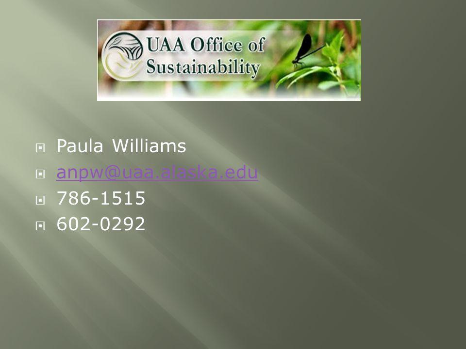  Paula Williams  anpw@uaa.alaska.edu anpw@uaa.alaska.edu  786-1515  602-0292